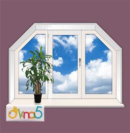 Трапецевидное трёхстворчатое окно - компания OKNA_KIEV