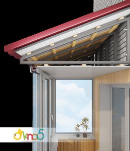 остекление балконов с крышей - Okna5