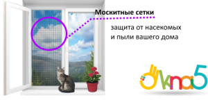 москитные сетки на ПВХ окна - Okna5