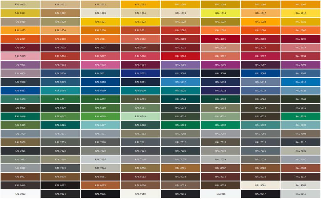 таблица цветов RAL для покраски окон